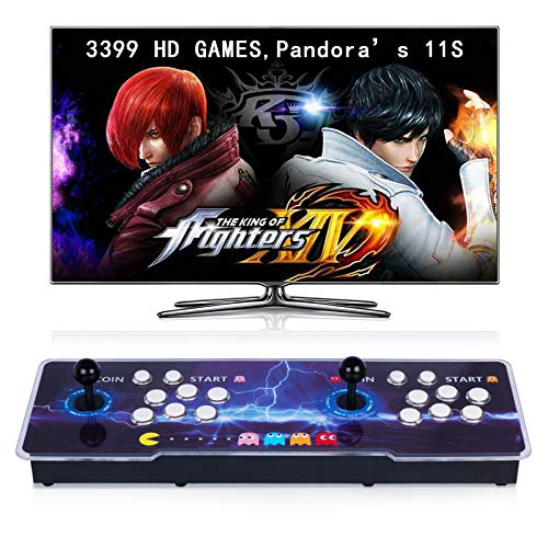 【3399 Games in 1】Arcade Game Console Pandora's Box 11S Classic Retro Game Machine for PC & Projector & TV, 2-4 Players,Double Joystick,1280X720 Full HD,3D Games,Search/Hide/Pause Games,Favorite List