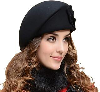 toptens Lady Women Autumn Winter Wool Warm Felt French Flower Beret Beanie Ski Hat Tam Cap (Black)