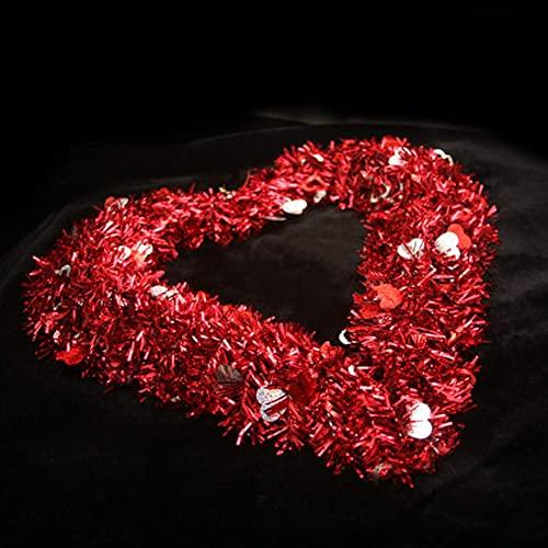 SHDS Ghirlande di Cuori di San Valentino Tinsel Foil Matrimonio a Forma di Cuore Ghirlande per Porta d'ingresso Decorazione Natalizia da Appendere alla Parete