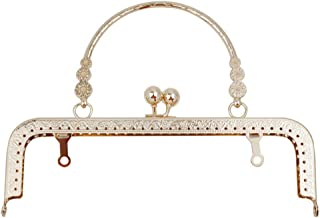 8 inch Metal Purse Frame with Embossed Arch Handle Kiss Clasp Lock Frame for DIY Craft Purse Bag Clutch Making (Light Gold)