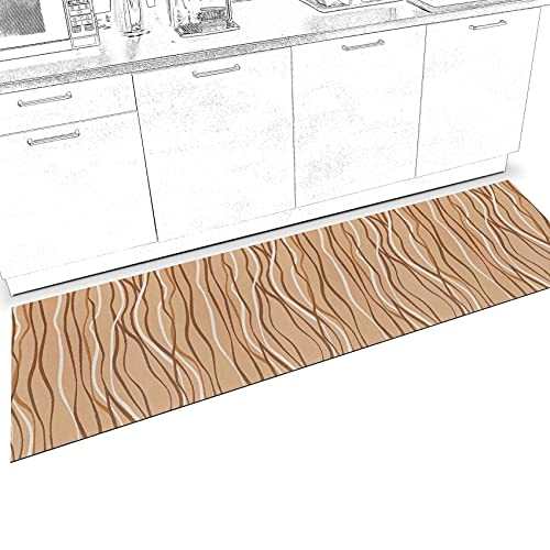 ANRO Alfombra para pasillo, cocina, pasillo, salón, antideslizante, alfombra de cocina, lavable, ajustable, color beige, 65 x 200 cm