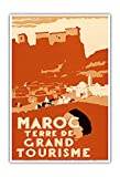 Pacifica Island Art Maroc Terre de Gran Turismo (Marruecos Tierra de Grand Touring)-Cartel del Viaje del Mundo del Vintage por Robert Genicot c.1940-Arte Master Print-13inx19