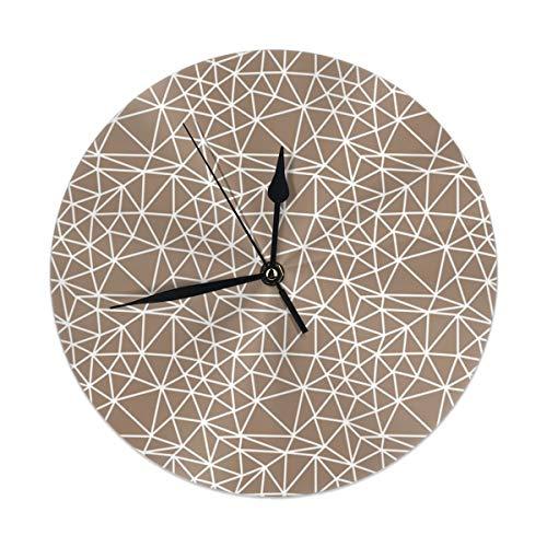 Uliykon Abstrakte geometrische braune Wanduhr geräuschlos & Nicht tickend Quarzuhr PVC für Zuhause Büro Schule Dekorative rund 24,9 cm