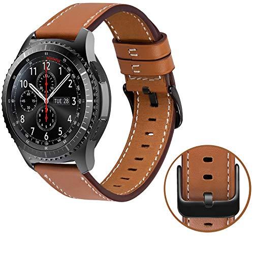 MroTech Gear S3 Frontier/Gear S3 Classic/Galaxy Watch 46mm Armband Leder, 22mm Uhrenarmband Echtes Lederarmband kompatibel mit Huawei Watch 2 Classic/Huawei GT, Ticwatch Pro, Pebble Time- Braun