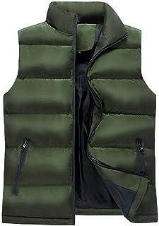 男性の秋と冬ウォームダウン迷彩ベストコットン服厚いカジュアルジャケット (色 : Green, サイズ さいず : S s)