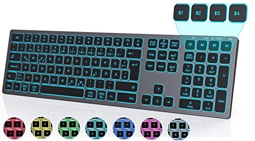 Seenda Beleuchtete Funktastatur mit 4 Bluetooth Kanälen, Wiederaufladbare Ultraslim Tastatur mit 7 farbigen Beleuchtung, QWERTZ Layout, Kabellose Tastatur für Windows/iOS/Mac OS/Android, Grau