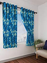Cortina 2 Piece Eyelet Polyester Window Curtain Set - 5ft, Blue