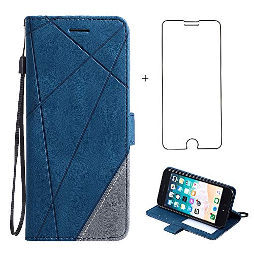 iPhone 7/8/SE 2020 Wallet Case,PU Leather Phone Cases with Screen Protector Card Holder Slot Stand Flip Folio Protective Cover for Apple SE 2nd Generation iPhoneSE i SE2 7S 8S i8 2nd Gen 4.7 inch Blue