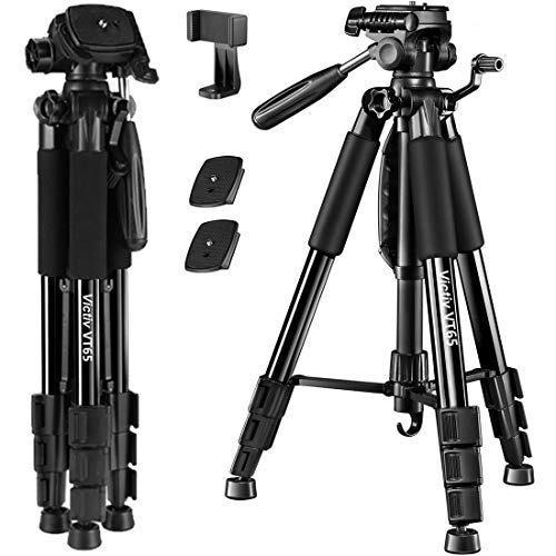 62 inch Aluminum Tripod for Camera, Victiv Mobile Phone Tripod with Smartphone Adapter and Extra Quick Release Plate for Travel and Work