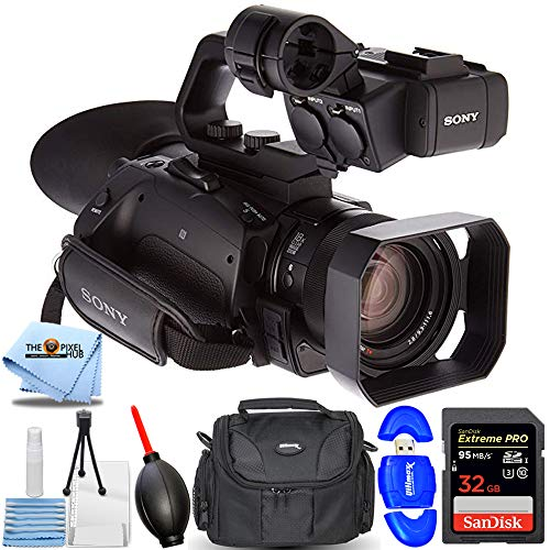 Sony PXW-Z90V 4K HD Compact NXCAM Camcorder - Essential Bundle Includes: Extreme Pro 32GB SD, Memory Card Reader, Gadget Bag, Blower, Microfiber Cloth and Cleaning Kit