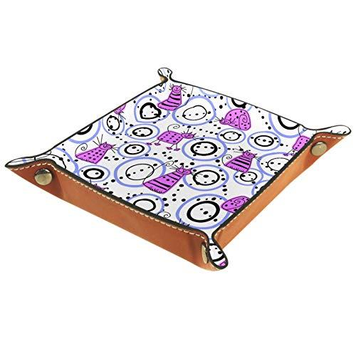 AITAI - Bandeja de cuero vegano para mesita de noche, organizador de escritorio, plato de almacenamiento para gatos