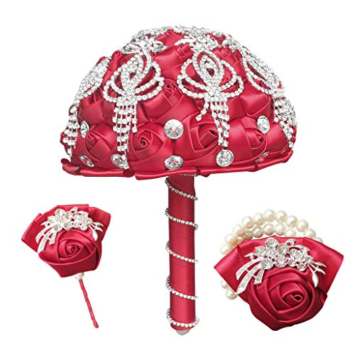 UYT Gorgeous Wedding Bride Must-have Accessories Bouquet Artificial Wedding Bouquet Decoration Red Bridal Bouquet with Shiny Jewelry Masonry Wedding Party Decorations
