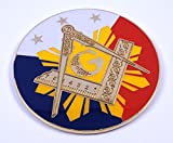 Car Chrome Decals Masonic Philippine 3' Metal Decal Emblem 3D Freemason Mason Philippines MAS2