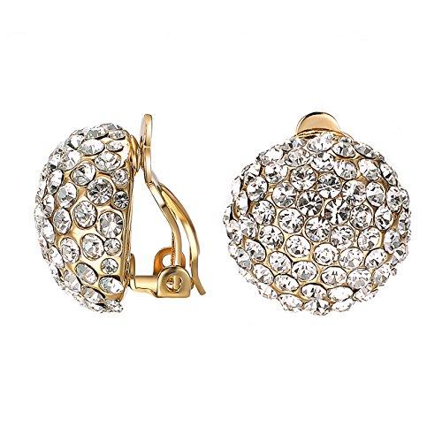 Yoursfs - Orecchini da donna a clip con cristalli, forma rotonda, placcati in oro 18 ct, con strass e metallo placcato oro rosa 18 ct, colore: Orecchini a clip per matrimonio., cod. Earring1037Y3