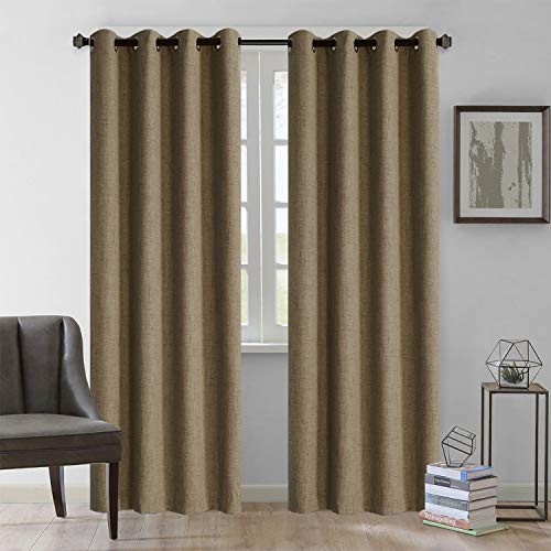 Rose Home Fashion Natural Linen Look, 100% Blackout Curtains(with Liner), Linen Blackout Curtains& Blackout Thermal Insulated Liner, Burlap Curtains-Set of 2 Panels(50x84 Chocolate)