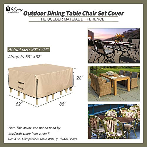 UCEDER Rectangular Patio Heavy Duty Table Cover TPU Back Side Coating 100% Waterproof 88x62 inches Outdoor Dining Table Chair Set Cover fit Square/Round Patio Table and 4-6 Standard Chairs