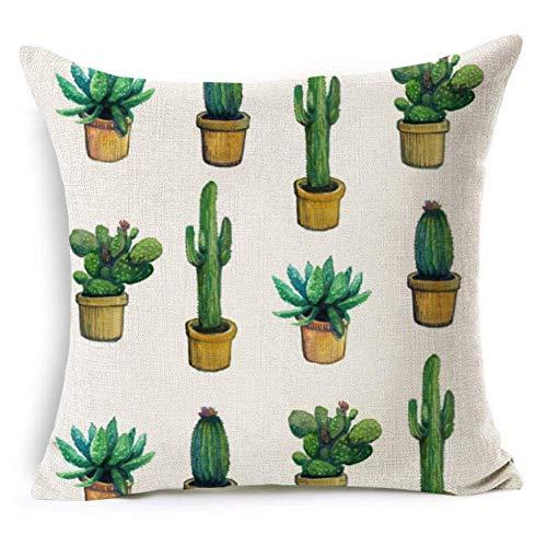 ZLXIONG - Funda de cojín de lino y algodón, diseño de cactus tropicales, para coche, hogar, sofá, cama, 4 unidades