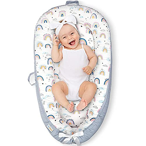 CosyNation Baby Lounger, Baby Nest for Co Sleeping, Ultra Soft and Breathable Cotton, Portable & Lightweight for Traveling, Perfect for Bassinet & Cribs, Essential for Newborn Shower Gift (Rainbow)