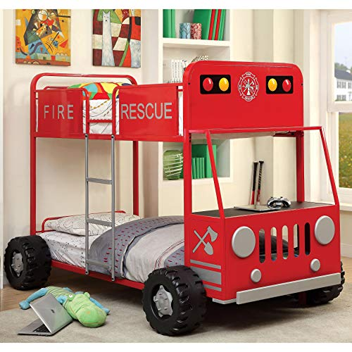 Furniture of America Rescue Team Fire Truck Metal Twin/Twin Bunk Bed