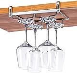 Nobrand Stielglas-Regal unter dem Schrank, 2 Reihen verstellbar Edelstahl Weinglas-Regal,...