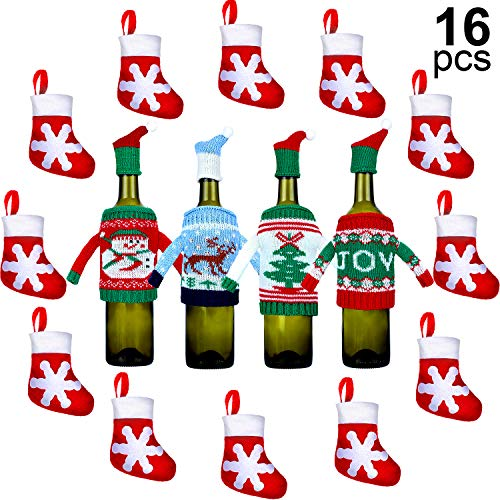 4 Bolsa Tapa Botella Navidad, 12 Decoración de Calcetín Navideño Porta Vajilla Copo Nieve, Cubierta Suéter Botella Vino Bolsa Regalo Mini Media Navideña Tenedor Bolsa Cuchillo Cuchara Bolsa Caramelo