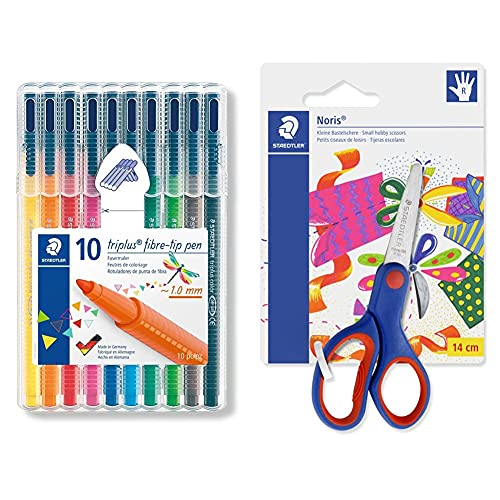 STAEDTLER Triplus Color 323 SB10. Rotuladores de colores de punta fina multicolor. Estuche con 10 marcadores + Noris Club 965 14NBK Tijeras para niños diestros de 14 centímetros.