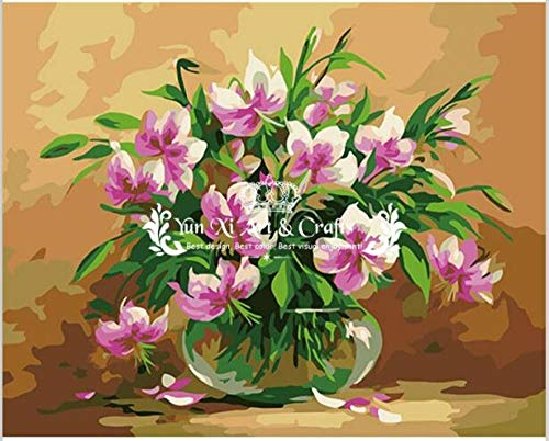Diy Oil Painting By Digital Painting Flower Iris Rose Home Decoration Gift Oil Painting Acrylic Linen Canvas 40X50Cm