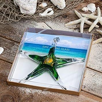 Outdoor Garden Accent Adventurine Handmade Suncatcher Luke Adams Glass Hanging Starfish Home D/écor 7 Large Glass Star