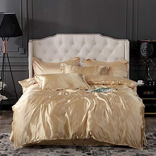 Parure de lit Adulte, Parure de lit 220X240 Adulte Satin Gris Housse de Couette 220x240 Blanc Parure de lit satinée de Housse de Couette pour Lit 4pcs Housse de Couette D