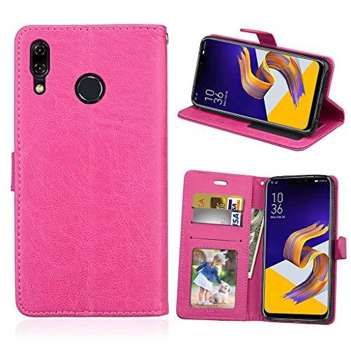 Asus Zenfone 5 2018 Hülle, SATURCASE Glatt PU Lederhülle Magnetverschluss Brieftasche Standfunktion Handy Tasche Schutzhülle Handyhülle Hülle für Asus Zenfone 5 ZE620KL/Zenfone 5z ZS620KL (Rose)