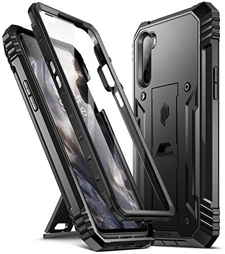 Poetic Revolution Series for OnePlus Nord 5G Case, OnePlus Z Case,Full-Body Rugged Dual-Layer Shockproof Protective Cover with Kickstand and Built-in-Screen Protector, Black