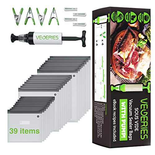 Sous Vide Bags 39 PCS Vacuum Save Sealer - 35 Reusable Vacuum Food Storage Bags for Anova and Joule Cookers - 3 sizes Sous Vide Bag Kit with Pump - 4 Sealing Clips - 4 Sous Vide Bag Clips with Handheld Food Vacuum Sealer