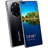 FJYDM Teléfono Móvil, Teléfonos Inteligentes Desbloqueados, Teléfono De Pantalla Completa De Alta Definición De 7,1 Pulgadas, Batería Grande De 5600 Mah, Android 10, Doble SIM 5G,Negro