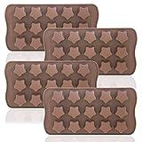 DaKuan Eiswürfelform, 4 Packungen, flexible Schokoladenformen, wiederverwendbar, Sternenform, für...