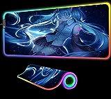 Blue Video Anime Girl RGB Alfombrilla de Ratón Gamer Computer Esports Gaming Game Teclado Alfombrilla de Escritorio Accesorios para Juegos 900X400X4 mm