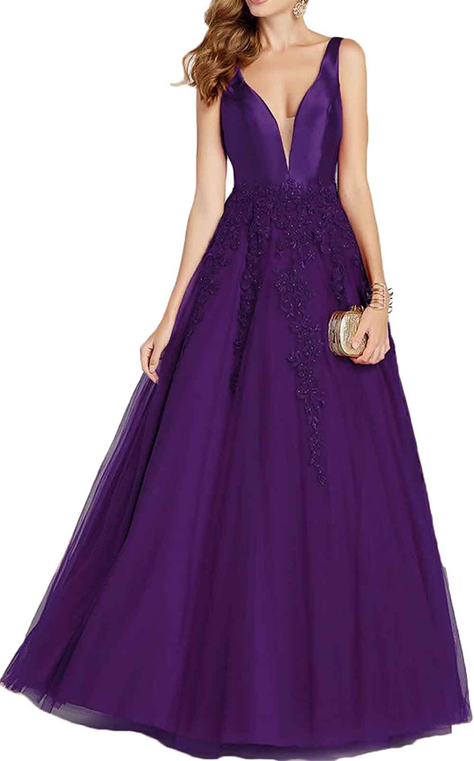 Rmaytiked Womens V Neck Lace Tulle Prom Dresses Long 2019 Satin Formal Evening Ball Gowns