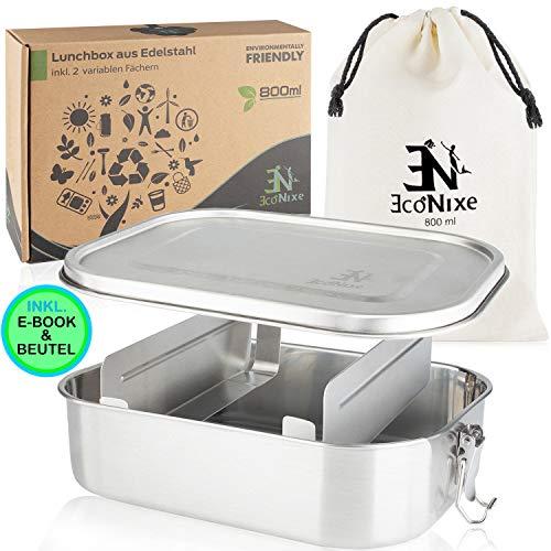 Econixe Brotdose Edelstahl mit 2 variablen Trennwänden + Beutel - Auslaufsichere Lunchbox, BPA- & plastikfreie Lunch Brotzeitbox & Unterteilung (800ml) Nachhaltige Brotbox auch für Kinder + eBook
