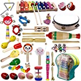 ATDAWN Kids Musical Instruments, 20 Types 34 pcs Wooden Percussion Instruments Xylophone Toys for Kids Preschool Educational, Musical Toys Set for Boys and Girls with Storage Bag