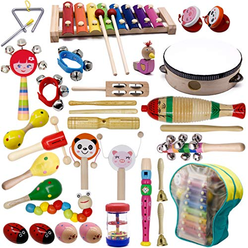 ATDAWN Kids Musical Instruments 20 Types 34 pcs Wooden Percussion Instruments Xylophone Toys for Kids Preschool Educational Musical Toys Set for Boys and Girls with Storage Bag
