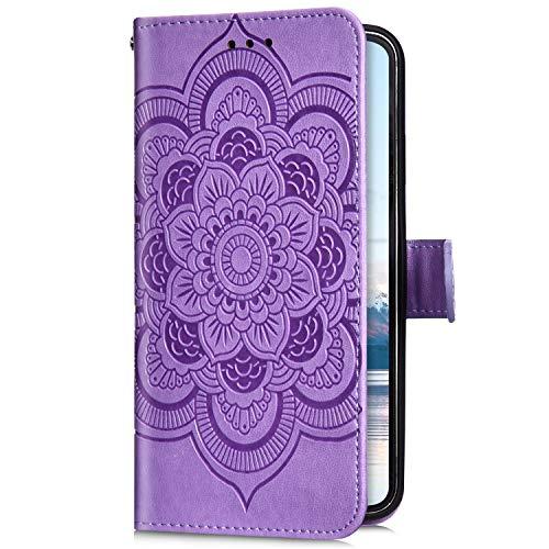 Uposao Kompatibel mit Samsung Galaxy A6 2018 Handyhülle Mandala Blumen Muster Handy Schutzhülle Ledertasche Flip Case Handytasche Wallet Hülle Bookstyle Klappbar Lederhülle Magnetisch,Lila