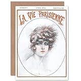 Artery8 La Vie Parisienne Woman with Headband Magazine Cover Sealed Greeting Card Plus Envelope Blank Inside París Mujer Portada de la Revista Cubrir