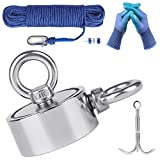 Magnet Fishing Kit Double Sided 1200LBS Neodymium Rare Earth Magnetic Fishing with 100FT Rope Carabiner Grappling Hook Protective Gloves for Salvage and Retrieval (WELLZEER)