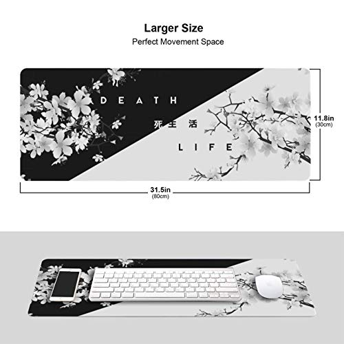 Black and White Cherry Blossom Gaming Mouse Pad XL, Extended Large Mouse Mat Desk Pad, Stitched Edges Mousepad, Long Non-Slip Rubber Base Mice Pad, 31.5 X 11.8 Inch Photo #5