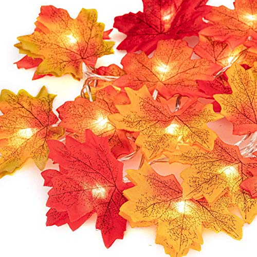 HHYSPA Fall Decor Maple Leaves String Light, Battery-Operated Waterproof with 2 Lighting Modes Orange Fall Garland Lights Decor for Party Indoor Outdoor Thanksgiving