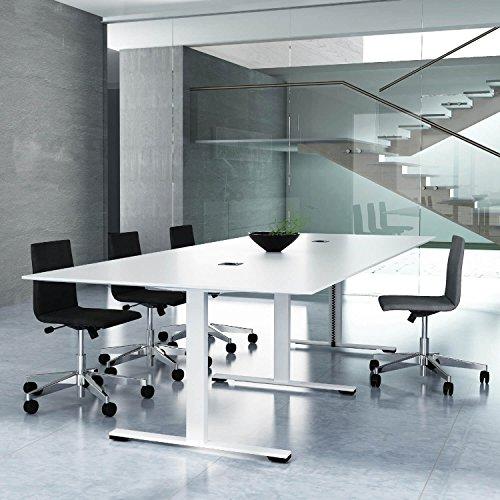 Jazz Konferenztisch 280 x 120 cm Weiß Besprechungstisch Meetingtisch Tisch, Gestellfarbe:Weiß