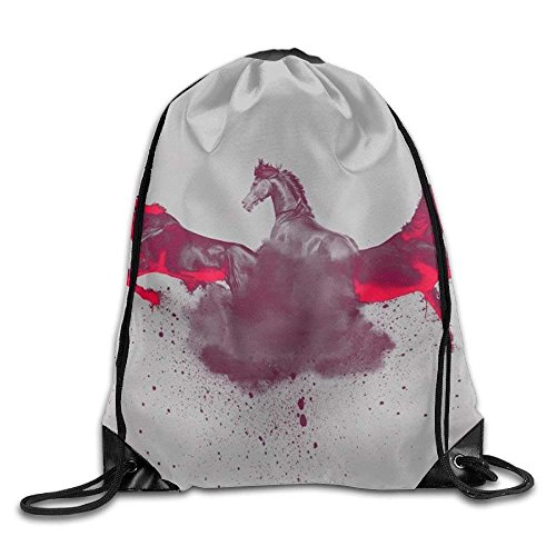 Etryrt Mochilas/Bolsas de Gimnasia,Bolsas de Cuerdas, Horse Drawstring Backpack Rucksack Shoulder Bags Training Gym Sack For Man and Women