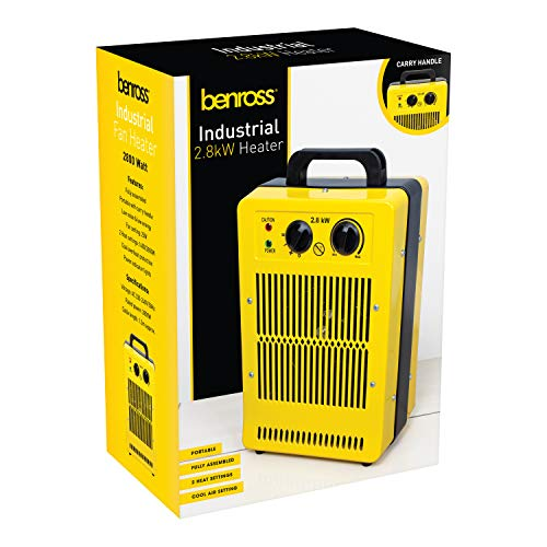 Benross 42469 2.8kw Industrial Fan Heater Adjustable Thermostatic Control & Dual Heat Mode, Yellow, Black, Standard