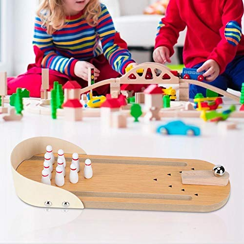 Zerodis Mini Bowling Spiel, Desktop Holztisch Bowling Familienfeier Spielen Dekompression Unterhaltung Klassische Spiele Spielzeug Geschenk für Kinder und Erwachsene