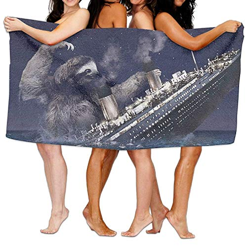 Rexing Saugfähiges Badetuch Faultier sinkend Titanic Strandtücher Ultra Duschtuch Mikrofaser Pool Handtuch Picknickmatte für Männer Frauen Kinder 130X80CM