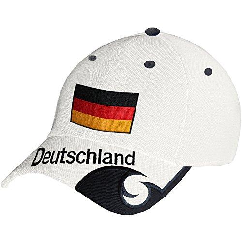 Blackshirt Company Deutschland Schildmütze Fußball Handball Fan Snapback Basecap Schwarz Rot Weiss (Einheitsgröße, Weiss)